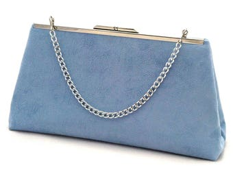 Blue Suede Handbag ~ Light Blue Purse ~ Blue Suede Evening Handbag Clutch ~ Ready to Ship