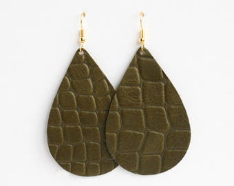 Quilted Olive Leather Earrings, Leather Teardrop, Genuine Leather, Leather Teardrop, Green Earrings, Lightweight Earrings- QUILTED OLIVE