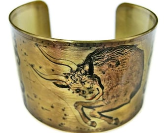 Taurus Zodiac Astrology Hoscope cuff bracelet brass Gifts for her
