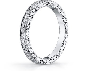 Scroll Engraved Diamond Pave Eternity Band in 18K White Gold