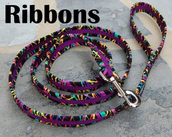 StitchPet Dog and Pet Leashes/ 6 ft. leash/ Colorful/ Mardi Gras/ Ready to Ship/ Mardi Ribbons