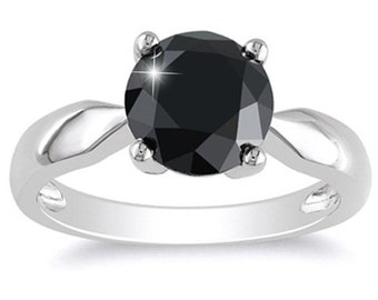 2.50CT Black Diamond Solitaire Engagement Ring 14k White Gold -  Size 4-9