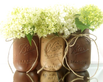 Hand Painted Mason Jars for Fall, Featuring Three Pint Jars for your Autumn Decor