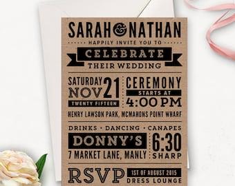 Subway Art Hochzeit Einladung zum Ausdrucken / rustikal moderne Hochzeit Einladung Vorlagen / Word Art Hochzeit Einladungen