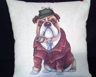 English Bulldog version pattern cushion on beige background 7074