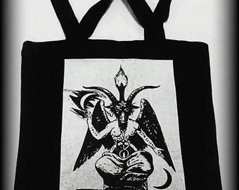 Baphomet tote bag, Satanic purse, Satanic bag, Satanic clothing, Occult clothing, Occult bag, Satan