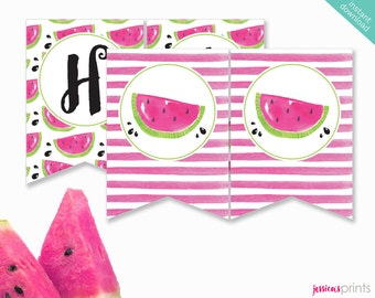 Instant Download Watermelon Printable Party Banner, Watermelon Happy Birthday banner, Watermelon Party Printable, Pink Watermelon Banner