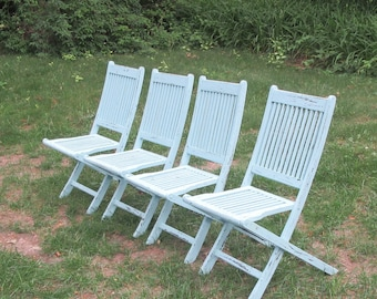 Set Of 4 Teak Folding Deck Chairs w/Amazonia Tags Aqua Hand Distressed Painted *Shipping is NOT included. Contact us for a quote.*