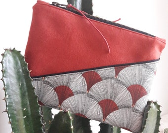 Clutch, pouch, organizer bag, fabric pattern papyrus brick red.