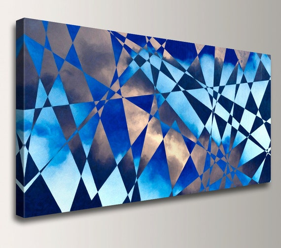 """Geometric Painting - Cobalt Blue - Canvas Print Panorama - Triangle Shapes and Clouds - Modern Wall Decor  - """"Cloudburst"""""""