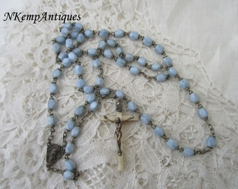 Vintage french rosary 1930's blue glass