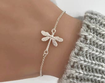 Sterling Silver Dragonfly Bracelet, dragonfly jewelry, Silver bracelet, Nature bracelet