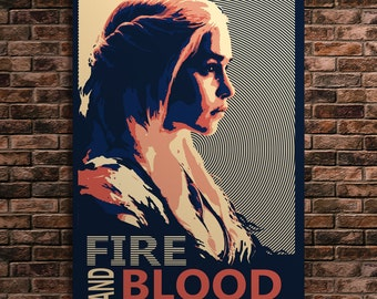 Game Of Thrones Khaleesi Fire and Blood Poster Quotes Wall Decor