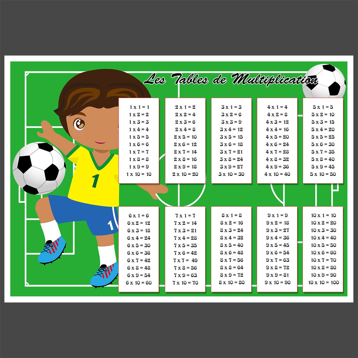 football tables de multiplication gar on. Black Bedroom Furniture Sets. Home Design Ideas