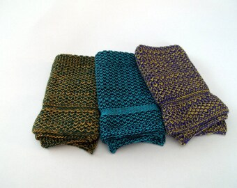 Cotton Knit Dishcloths in JazzBlue/Turquoise, Purple/Lemon and Dark Green/Gold, Knit Dishcloths, Knit Washcloth, Dishcloth, Washcloth