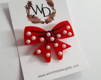 Adorned by a Bow Wearable Art Brooch by Winnifreds Daughter