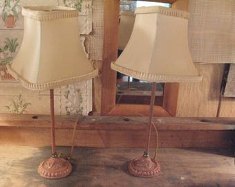 Sweet Pair of Pink Art Deco Lamps