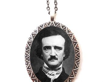 Edgar Allan Poe Portrait Necklace Pendant Silver Tone - Goth Author Literature Literary Gift for English Majors
