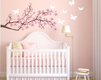 Cherry Blossom Wall Decal - Etsy Wall Decals - Nursery Wall Decals - Baby Girl Nursery - Girl Nursery - Tree Wall Decal - Wall Decals & We love you to the moon and back wall decal I love u to the