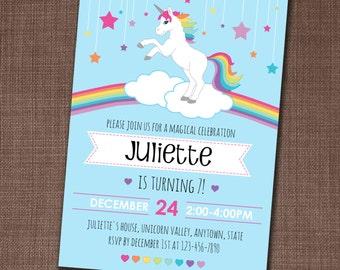 Unicorn Party Invitation - Unicorn Invitation - Rainbow Unicorn Invite - Unicorn Birthday - Rainbow Birthday - Edit yourself at home!