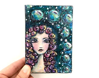 She Dreams of the Ocean ~ Acrylic Painting Original Art on Wood Block Shelf Sitter