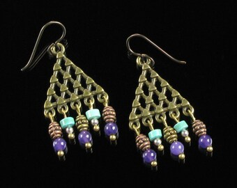 Boho Chandelier Earrings, Tribal Boho Earrings, Boho Jewelry, Gypsy Dangle Earrings, Brass Earring, Niobium earrings, Jewelry Gift for Women