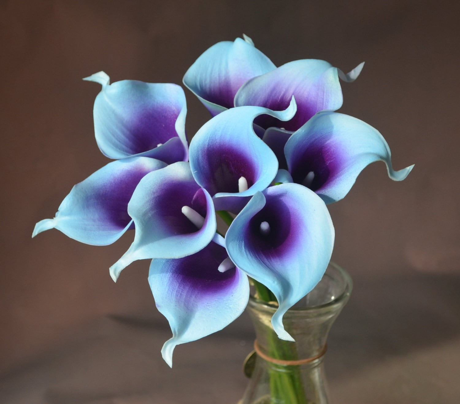 Blue Purple Picasso Calla Lilies 9 stems Real Touch Flowers