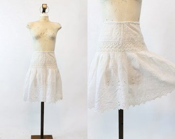 1910s Edwardian Shorts Culottes XS / Antique Eyelet Cotton Lace Bloomers /  Dreaming of Summer Shorts