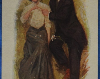 Art Lovers Romance Unsettled Weather 1916 Postcard