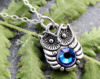 Bright Owl necklace - antiqued silver owl with blue crystal belly - sterling silver chain - free shipping USA - blue green Swarovski crystal