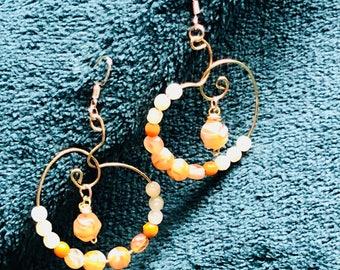 Refreshing Peach Spiral Dangle Earring