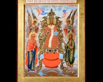 "Icon The Savior on the Throne. Icon Russian orthodox. Icon handpainted on wooden panel 11,8"" х 15,7"" х 1,2"""