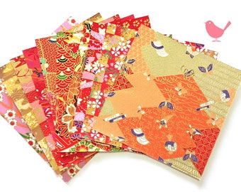 Scrap Pack - Japanese rice and origami paper ephemera, paper with beautiful golden print 13