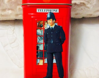 London Telephone Booth Tin Box Bank Red England