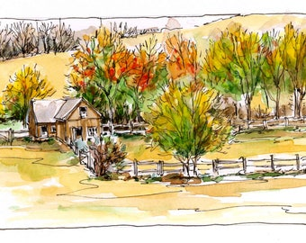 Young's Barn Original Watercolor Painting