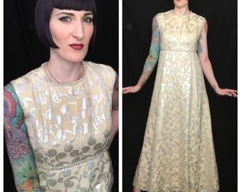 Vintage 1960's Silver Metallic Lurex Brocade Beaded Empire Waist Maxi Dress Gown - size Small Medium