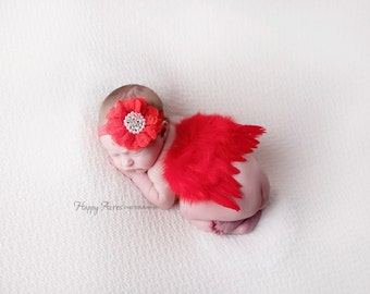 Red Feather Wing Set, Wing and Headband Set, Newborn Photo Prop, Christmas Photo Prop, Baby Girl Prop