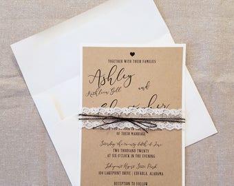 DIY Simple Rustic Burlap Wedding Invitation Rustic Barn