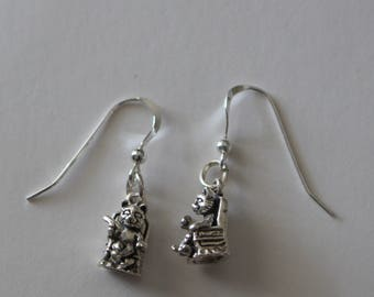 Sterling Silver 3D CAT Earrings - Cat in Chair with TV Remote