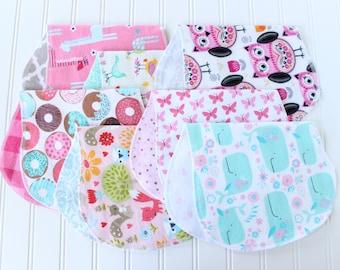 Baby Girl Burp Cloths - Set of 7 - Baby Shower Gift - Baby Gift