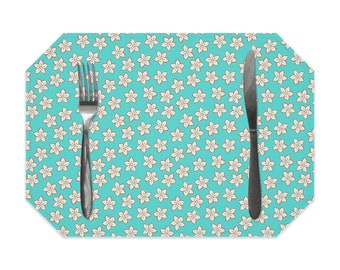 Turquoise floral placemat, cream flowers on turquoise placemat, washable placemats, table mat