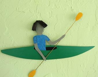 Metal Wall Art Guy Kayaker Sports Wall Decor Lime Green Kayak Athletic Art Wall Decor Water Sports Recycled Metal 12 x 22