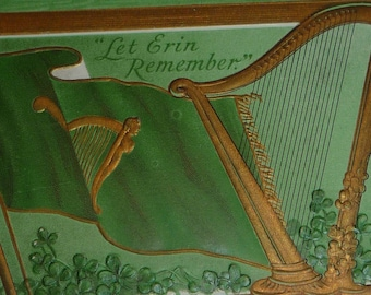 Irish Flag and Harp Antique St. Patrick's Day Postcard