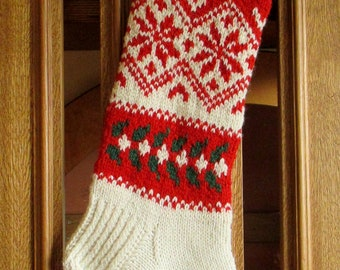 "Knit Christmas Stockings 21.5"" Personalized Hand knit Wool Nordic style Red Green White Snowflake ornament Christmas decoration"