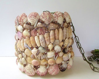 Vintage Handcrafted Shell Mosaic Hanging Lamp - Shell Covered Swag Lamp  - Folk Art Lamp -