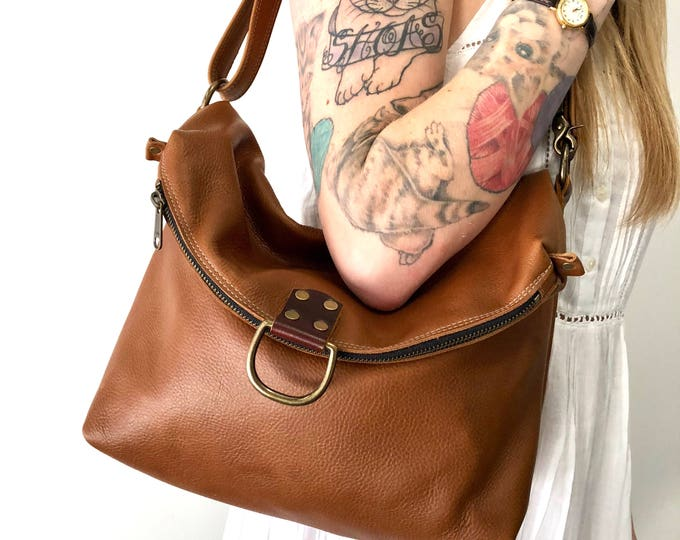 ELLIS - Convertible leather bag - from shoulder to crossbody to backpack