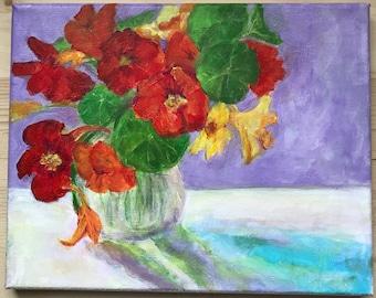 Nasturtiums on my table Original acrylic painting