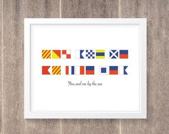 Nautical Flag Alphabet - Personalized Saying 11x14