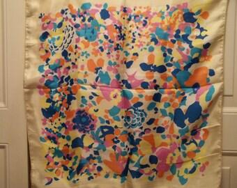 Vintage 1960's Silk Scarf Bold Colors