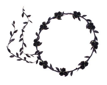 Black Rose Flower Crown, Black Flower Crown, Black and White Monochrome Headband, Festival Flower Crown, Black Flower Hair Crown